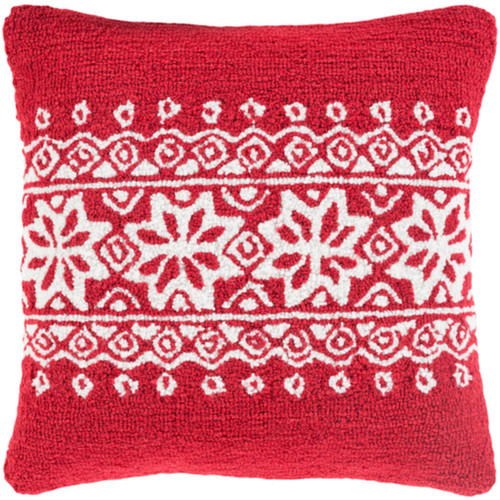 """18"""" Santa Red and Snowy White Decorative Snowflake Christmas Throw Pillow Cover - IMAGE 1"""