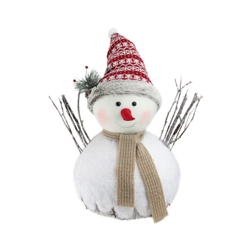 """16"""" White and Red Snowman Christmas Tabletop Decor - IMAGE 1"""