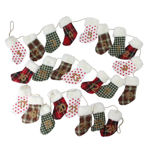 """8' x 1"""" White and Red Stocking Artificial Christmas Garland - Unlit - IMAGE 1"""