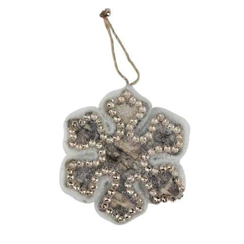 """4"""" Gray and Gold Decorative Snowflake Christmas Ornament - IMAGE 1"""