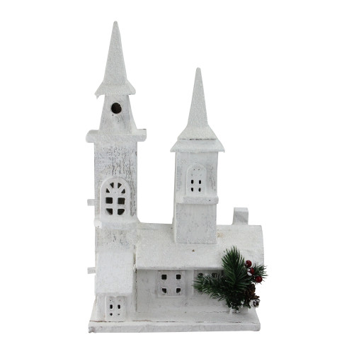 """16.5"""" White LED Lighted Frosted Church Christmas Tabletop Decor - IMAGE 1"""