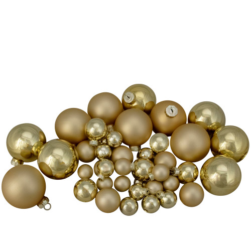 """40ct Gold Glass 2-Finish Christmas Ball Ornaments 2.5"""" (60mm) - IMAGE 1"""