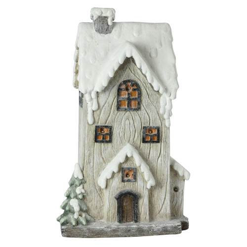 """19"""" Ivory and Brown LED Lighted Battery Operated 2 Story House Christmas Decor - IMAGE 1"""