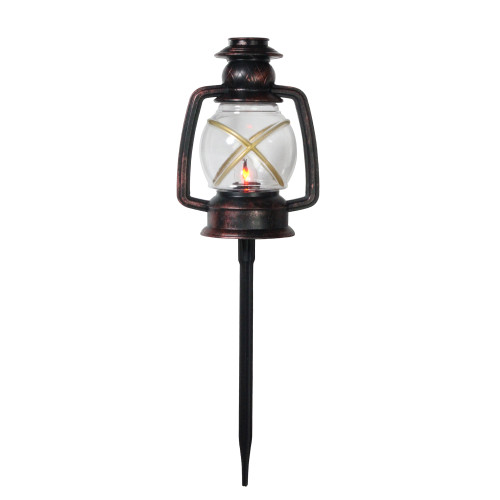 """Set of 3 Bronze and Black Flickering Lantern Christmas Pathway Markers 16"""" - IMAGE 1"""