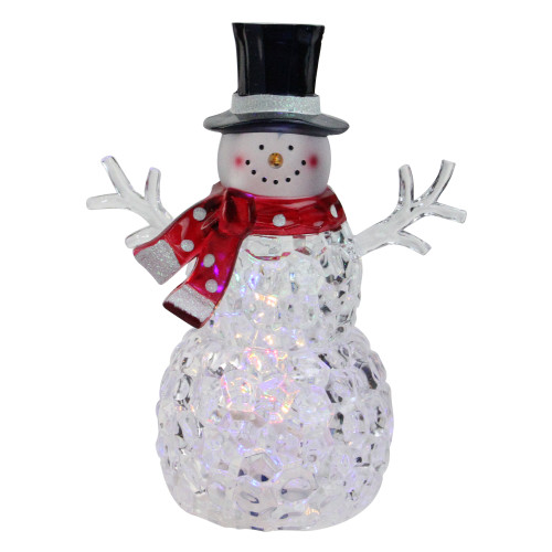 """8.5"""" Battery Operated LED Lighted Snowman with Scarf and Top Hat - IMAGE 1"""