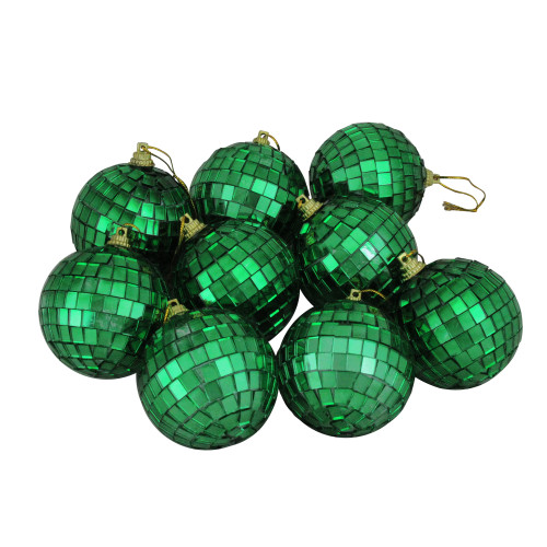 "9ct Xmas Green Mirrored Glass Disco Christmas Ball Ornaments 2.5"" (60mm) - IMAGE 1"