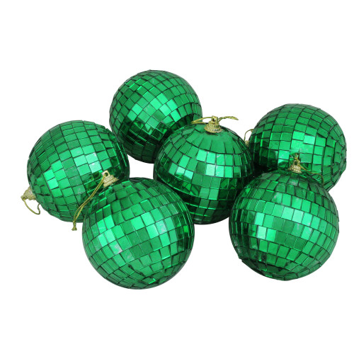 6ct Xmas Green Mirrored Glass Disco Ball Christmas Ornaments 3.25 80mm - IMAGE 1