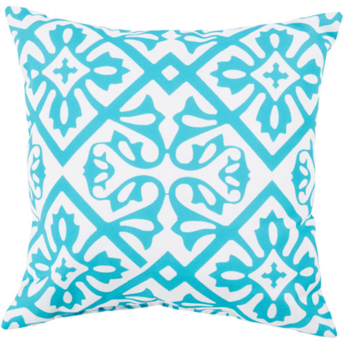"""26"""" Sky Blue and White Contemporary Square Outdoor Throw Pillow Cover - IMAGE 1"""