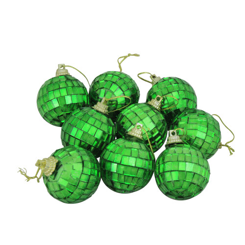"9ct Green Mirrored Glass Disco Ball Christmas Ornaments 1.5"" (40mm) - IMAGE 1"