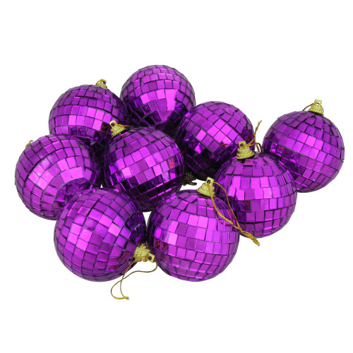 "9ct Purple Mirrored Shatterproof Christmas Ball Ornaments 2.5"" (60mm) - IMAGE 1"