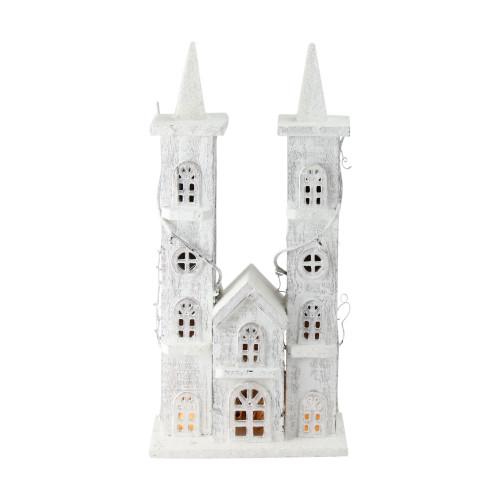 "15.75"" White Pre-Lit LED Snowy Double Tower Church Christmas Decor - IMAGE 1"