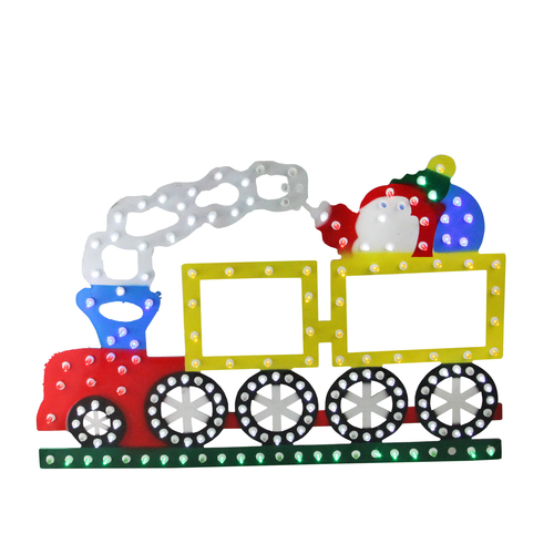 """21"""" Lighted LED Multi-Color Train Christmas Window Silhouette Decoration - IMAGE 1"""