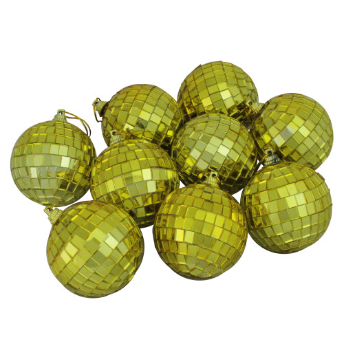 """9ct Gold Mirrored Glass Christmas Ball Ornaments 2.5"""" (60mm) - IMAGE 1"""