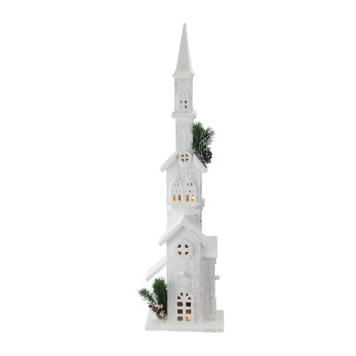 """27.5"""" Battery Operated Warm White LED Snowy Church Tower Christmas Decor - IMAGE 1"""