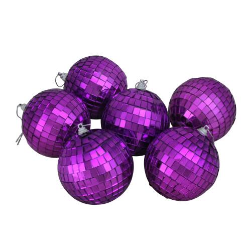 "6ct Purple Mirrored Glass Disco Ball Christmas Ornament 3.25"" (80mm) - IMAGE 1"