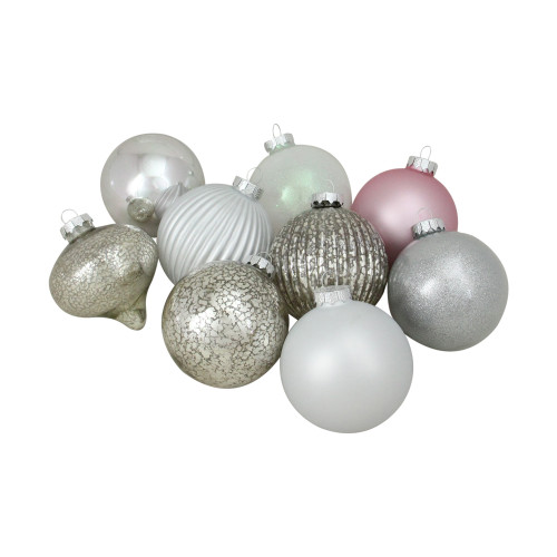 """9ct Silver 3-Finish Shatterproof Christmas Ball and Onion Ornaments 3.75"""" (95mm) - IMAGE 1"""