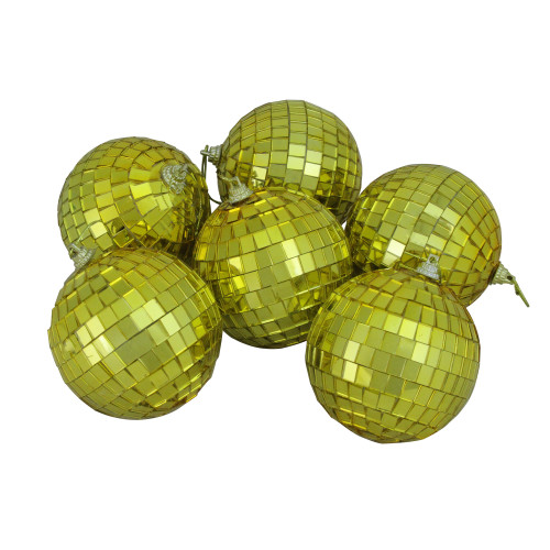 "6ct Gold Mirrored Glass Christmas Ball Ornaments 3.25"" (80mm) - IMAGE 1"