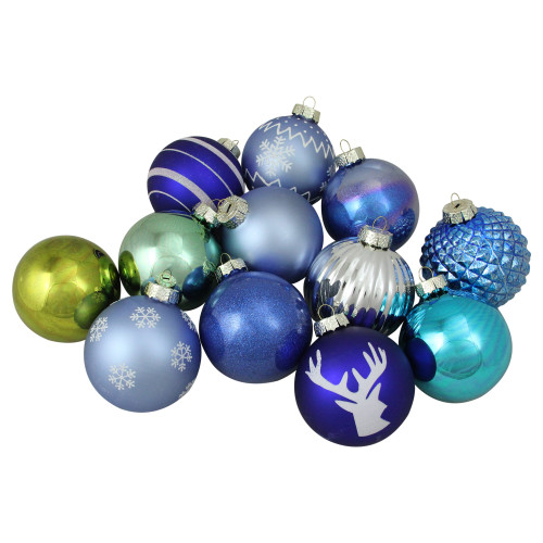 """12ct Blue and Green Glass 2-Finish Christmas Ball Ornaments 4"""" (100mm) - IMAGE 1"""