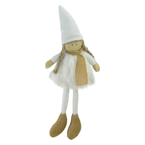 """13"""" Gold and White Standing Girl with Hat Tabletop Decoration - IMAGE 1"""