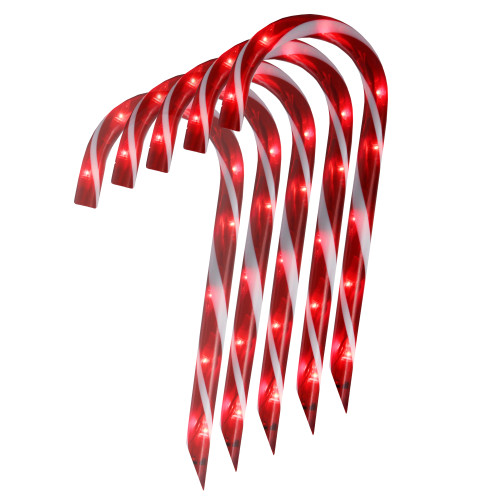 """Set of 10 Red Lighted Outdoor Candy Cane Christmas Lawn Stakes 12"""" - IMAGE 1"""