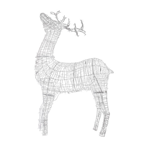 9.5' Pre-lit Commercial Size 3D White Reindeer Christmas Outdoor Decoration - IMAGE 1