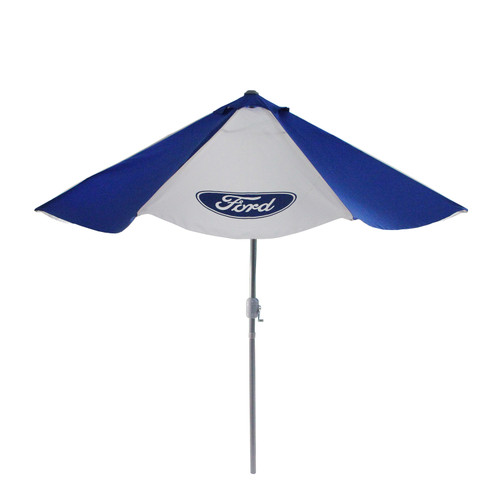 9' Outdoor Patio Ford Umbrella with Hand Crank and Tilt, Blue and White - IMAGE 1