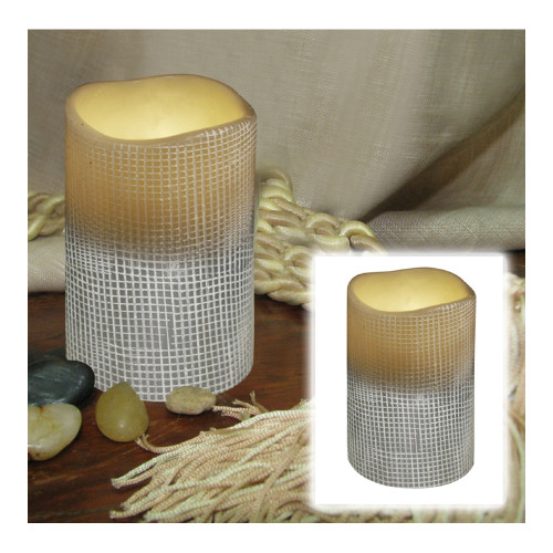 "4"" Stone Grey Lattice Design Battery Operated Flameless Flickering Wax Pillar Candle - IMAGE 1"