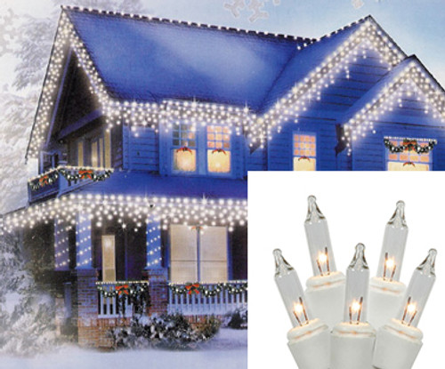 Set of 100 Clear Everglow Mini Icicle Christmas Lights - White Wire - IMAGE 1