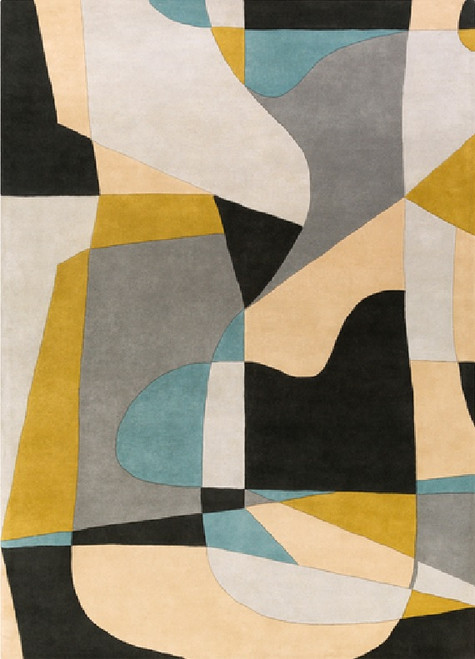12' x 15' Arte Astratto Jet Black, Teal, Gray and Olive Hand Tufted Wool Area Throw Rug - IMAGE 1