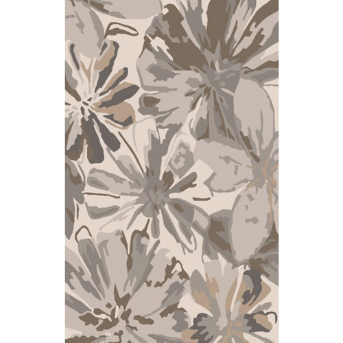 6' x 9' Floral Brown and Gray Hand Tufted Contemporary Wool Area Throw Rug - IMAGE 1
