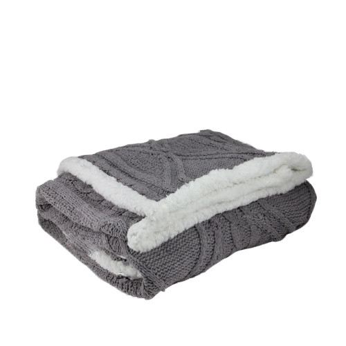 """Gray and White Cable Knit Plush Throw Blanket 50"""" x 60"""" - IMAGE 1"""
