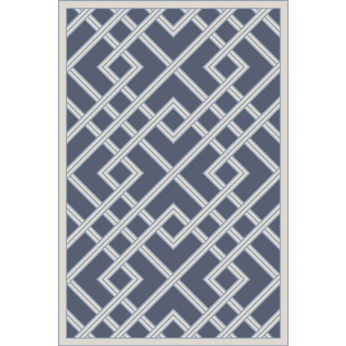 4' x 6' Diverting Lanes Sky Blue and Egg Shell White Area Throw Rug - IMAGE 1