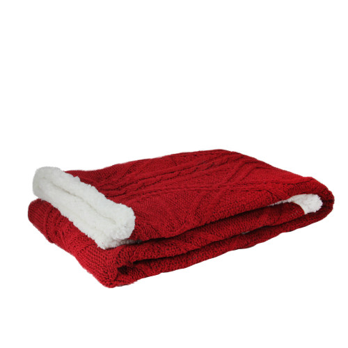 """Red and White Cable Knit Plush Sherpa Throw Blanket 50"""" x 60"""" - IMAGE 1"""