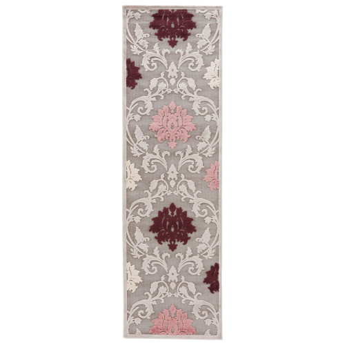 2.5' x 8' Gray and Purple Transitional Area Throw Rug Runner - IMAGE 1