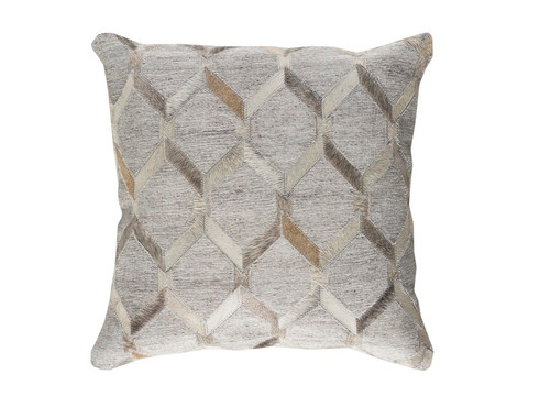 "20"" Gray and White Geometric Square Throw Pillow - IMAGE 1"