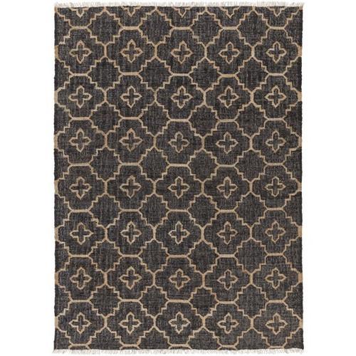 8' x 10' Balkan Modesty Sand Brown and Charcoal Black Hand Woven Area Throw Rug - IMAGE 1