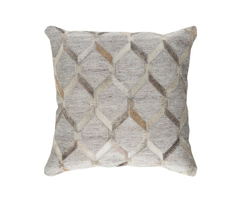 "20"" Gray and White Geometric Square Throw Pillow - Down Filler - IMAGE 1"
