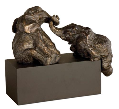 "16"" Antiqued-Bronze Playful Pachyderm Elephants on Black Matte Base Decoration - IMAGE 1"
