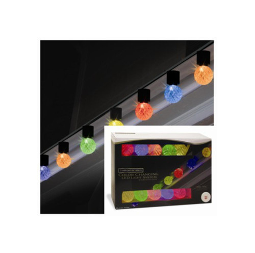 Set of 10 ColorChanging Light Show LED G40 Christmas Lights - 9 ft Green Wire - IMAGE 1