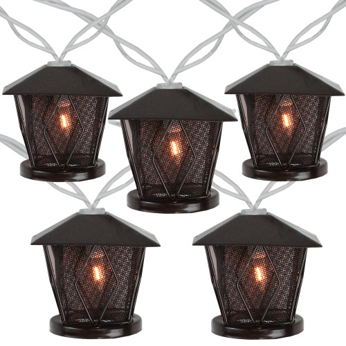 10 Candle Lantern Summer Garden Patio Lights - 7.1 ft White Wire - IMAGE 1
