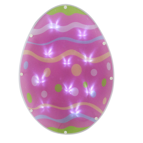 """13.75"""" Pink LED Pre-Lit Easter Egg Spring Window Silhouette with Timer - IMAGE 1"""