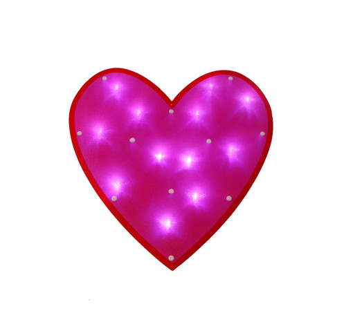 """15"""" LED Lighted Pink Valentine's Day Heart Window Silhouette Decoration - IMAGE 1"""