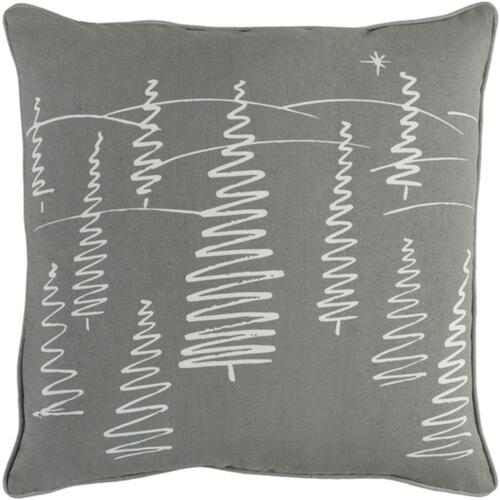 """18"""" White and Gray Contemporary Tree Scenery Square Throw Pillow - IMAGE 1"""