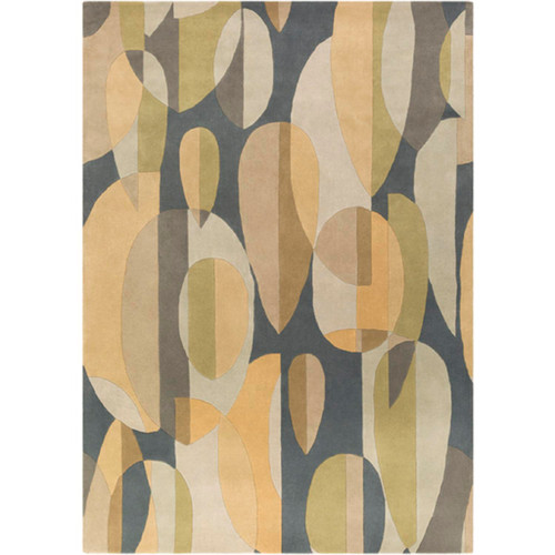 10' x 14' Falling Leaves Gray and Green Hand Tufted Rectangular Wool Area Throw Rug - IMAGE 1