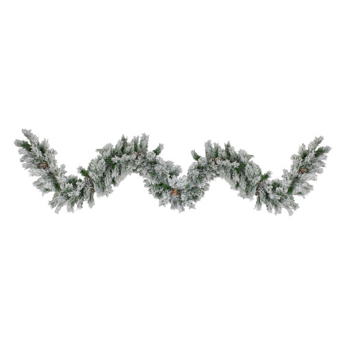 "9' x 10"" White and Green Flocked Pine with Pine Cones Artificial Christmas Garland - Unlit - IMAGE 1"