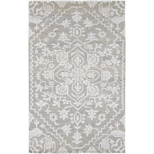 4' x 6' White and Gray Labyrinth Hand Knotted Rectangular Area Throw Rug - IMAGE 1