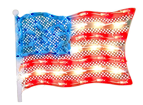 """14.5"""" Red and Blue Lighted Patriotic Fourth of July American Flag Window Silhouette Decoration - IMAGE 1"""