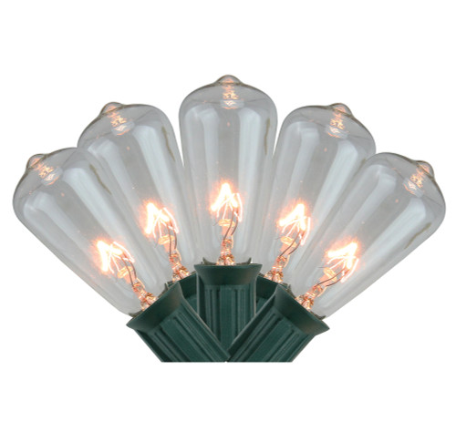 20-Count Clear Mini Edison Christmas Light Set, 12.6ft Green Wire - IMAGE 1