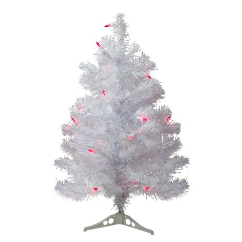 2' Pre-Lit White Pine Slim Artificial Christmas Tree - Pink Lights - IMAGE 1