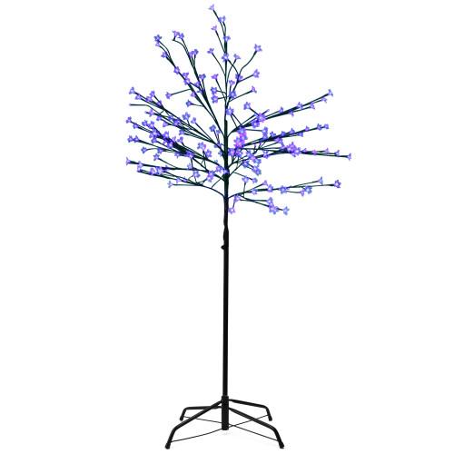 6' LED Lighted Japanese Sakura Blossom Flower Tree – Blue Lights - IMAGE 1